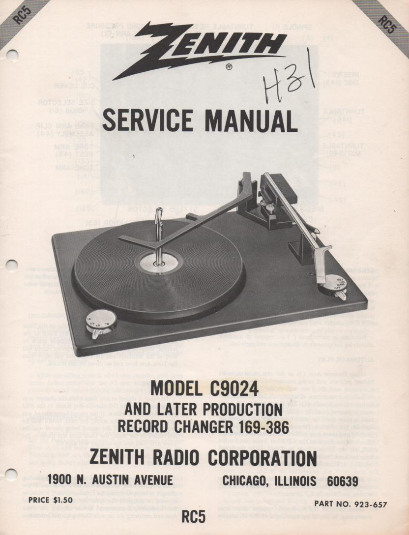 C9024 169-386 Turntable Service Manual RC-5  Zenith