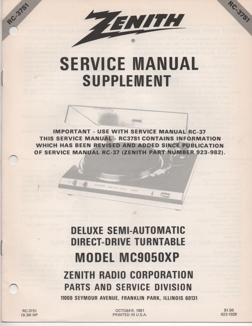 MC9050XP Turntable Service Manual RC-37S1  Zenith