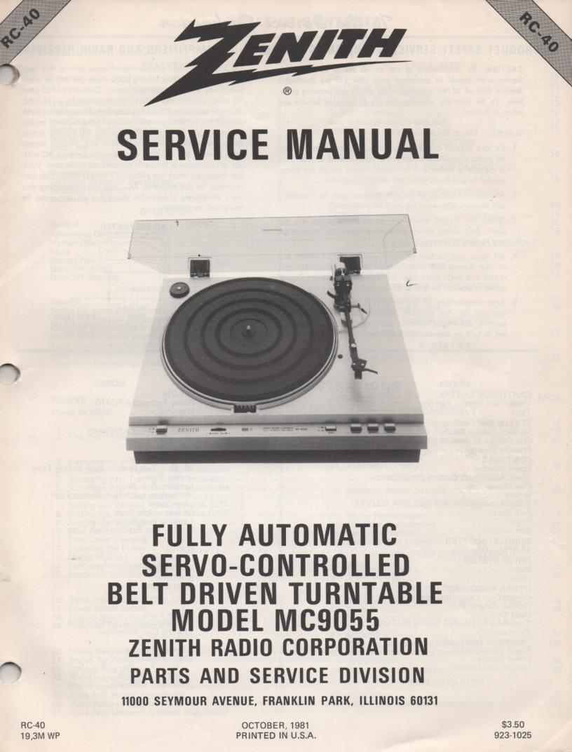 MC9055 Turntable Service Manual RC-40  Zenith