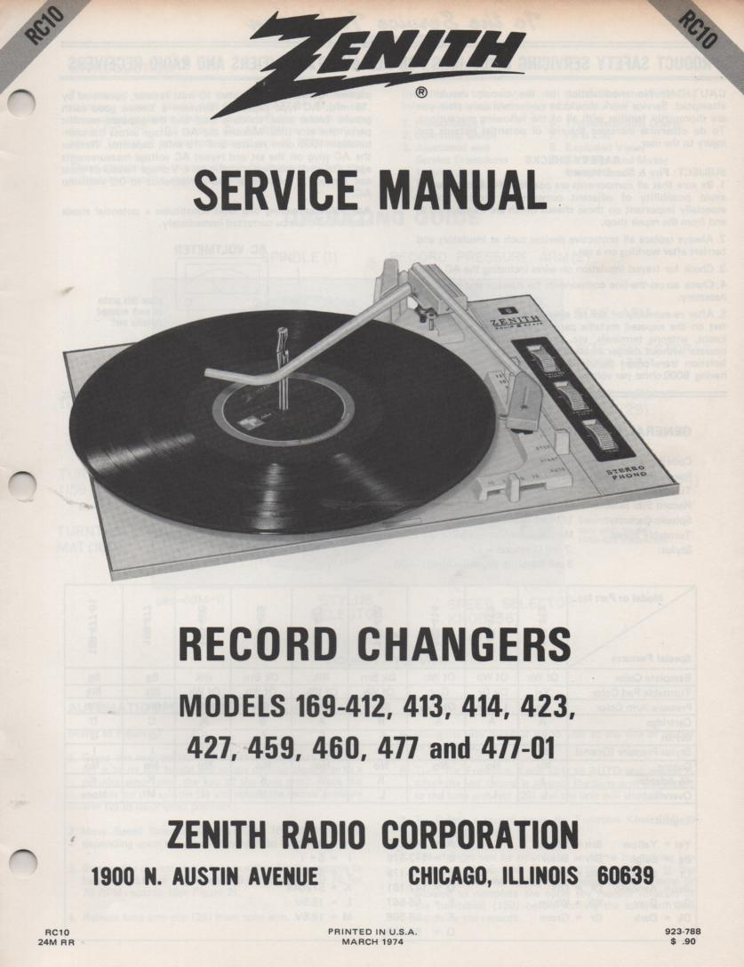 169-412 169-413 169-414 169-324 169-427 Record Changer Turntable Service Manual. RC10  Zenith