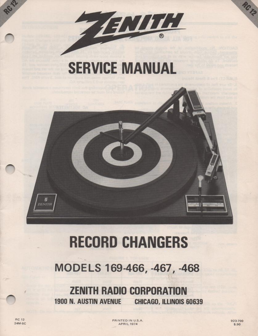 169-466 169-467 169-468 Turntable Service Manual RC12  Zenith