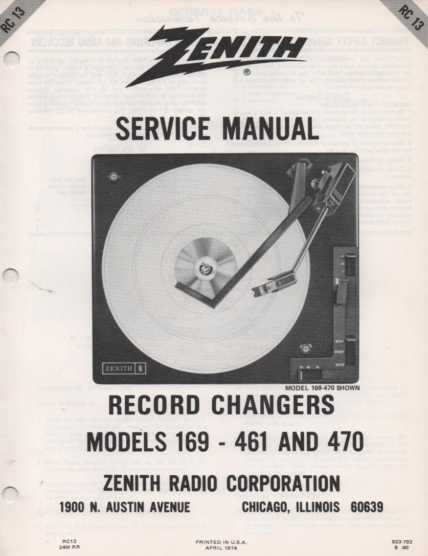 169-461 169-470 Turntable Service Manual RC-13  Zenith