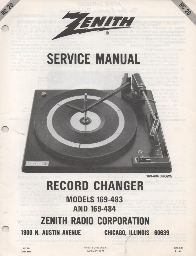 169-511 169-512 169-513 Turntable Service Manual RC-20  Zenith
