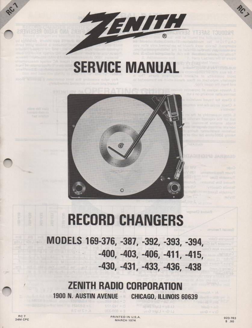 169-376 169-387 169-392 169-393 169-394 Record Changer Turntable Service Manual RC-7  Zenith