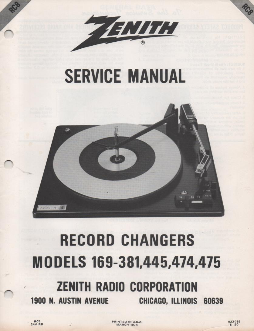 169-381 169-445 169-474 169-475 Record Changer Service Manual RC-8  Zenith