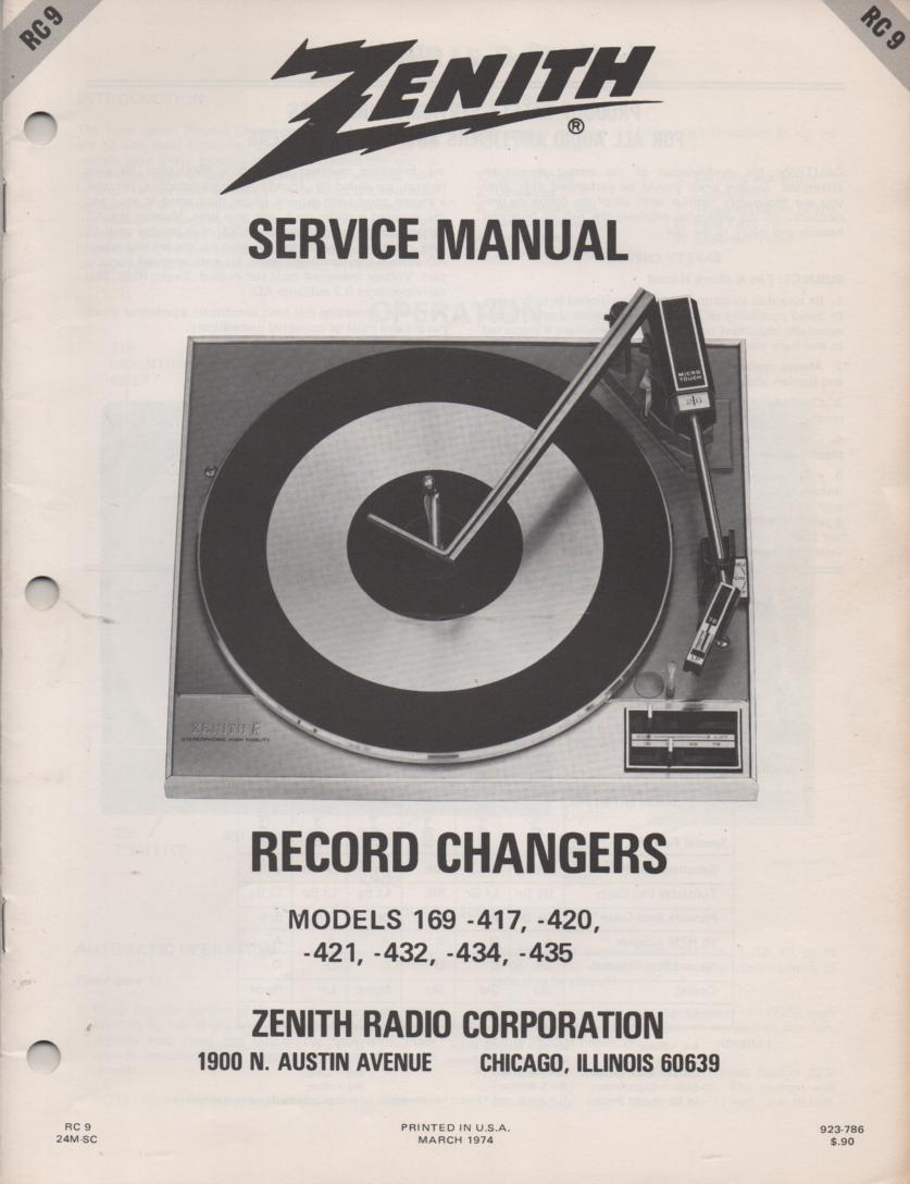 169-417 169-420 169-421 169-432 169-434 169-435 Record Changer Service Manual  RC9  Zenith