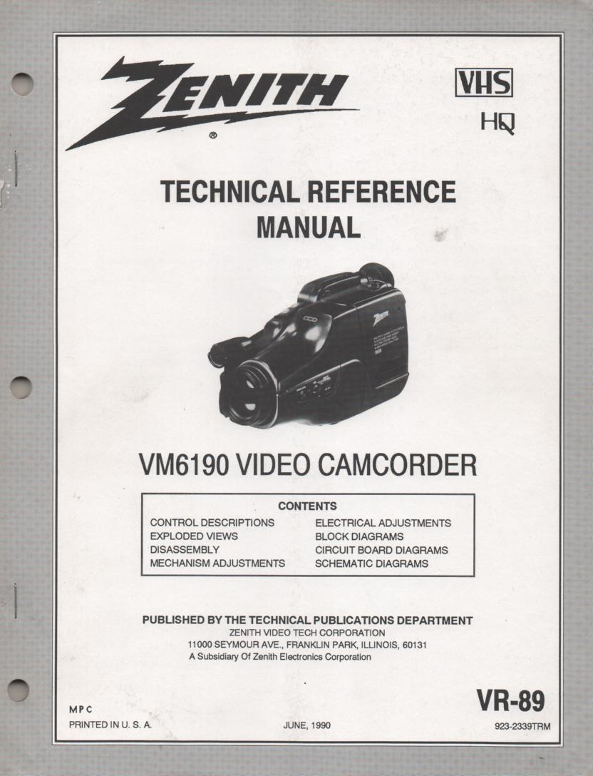 Zenith VM6190 Camcorder Technical Reference Service Manual... 