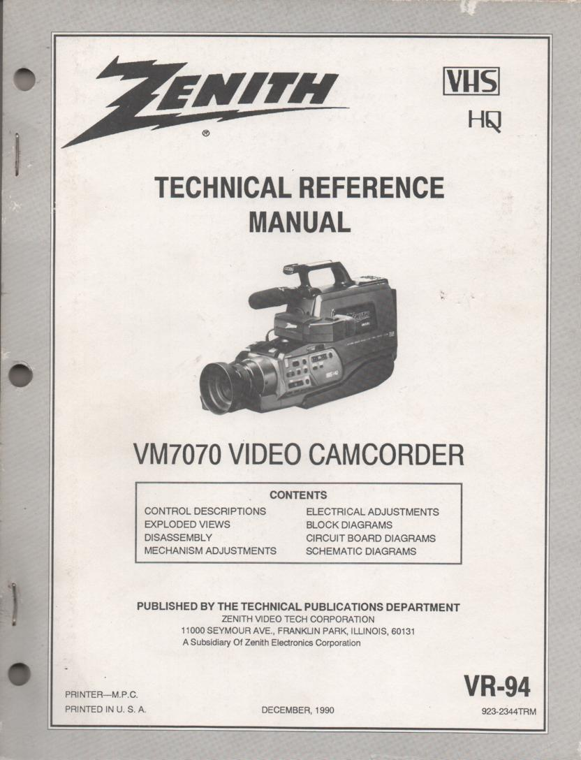 Zenith VM7070 Camcorder Technical Reference Service Manual...  VR-94